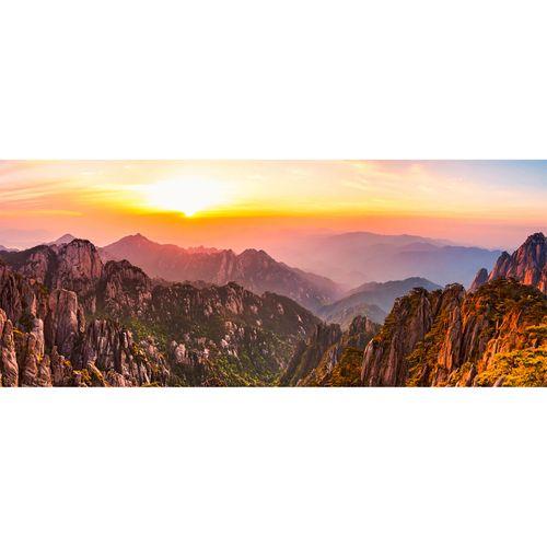 Photo Non-Woven Wallpaper Mountains Sun brown yellow red
