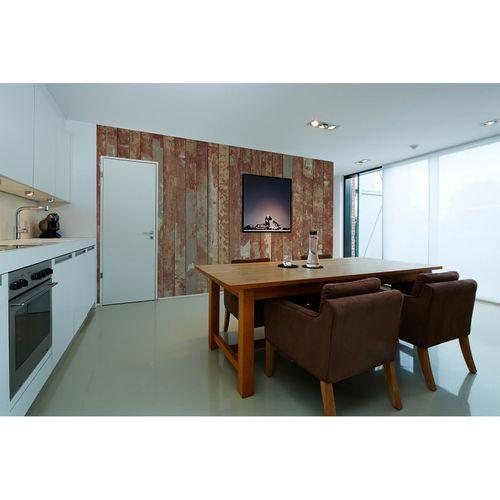 Photo Non-Woven Wallpaper Wood Flooring brown cream grey