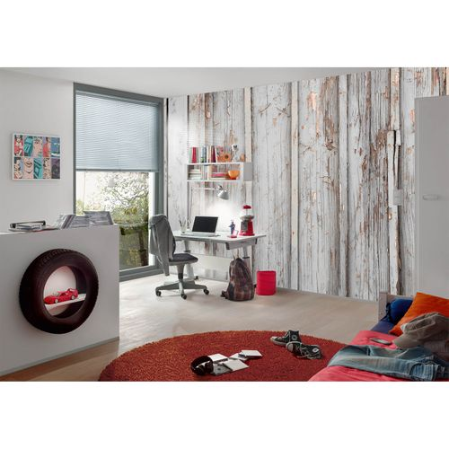 Photo Non-Woven Wallpaper Wood Shabby beige brown grey
