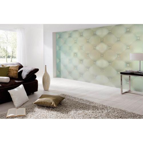 Photo Non-Woven Wallpaper Cushion Squares blue brown cream