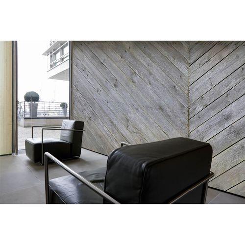 Photo Non-Woven Wallpaper Wood Floor grey