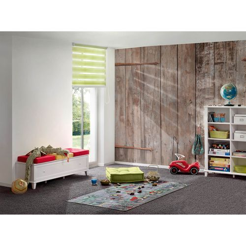 Photo Non-Woven Wallpaper Wood Door Barnbrown grey