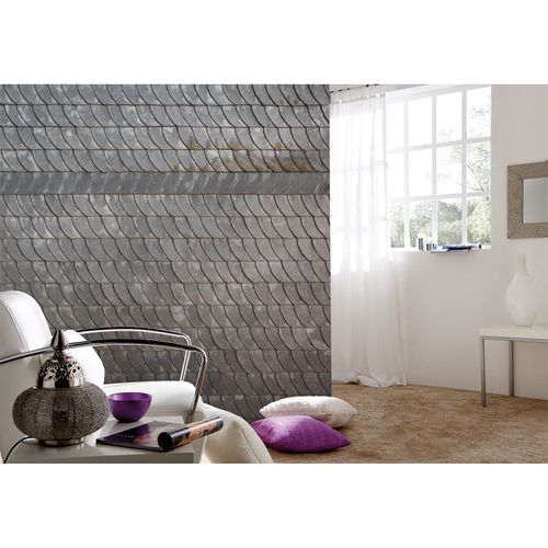 Photo Non-Woven Wallpaper Roof Slate Shingles brown grey