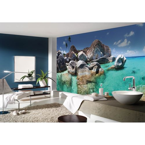 Photo Non-Woven Wallpaper Sea Rocks Palms blue brown