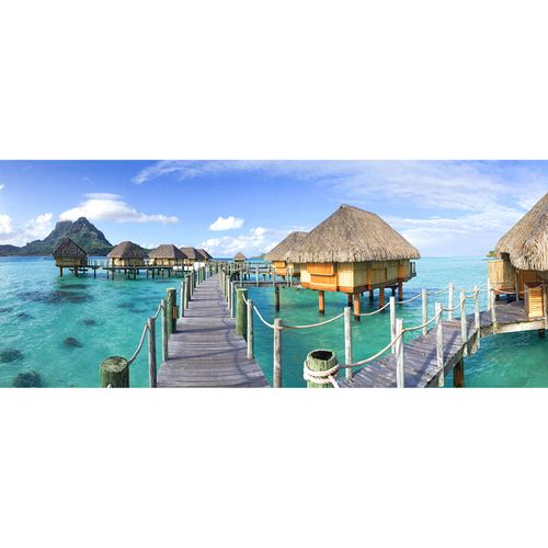Photo Non-Woven Wallpaper Water Bungalows blue green