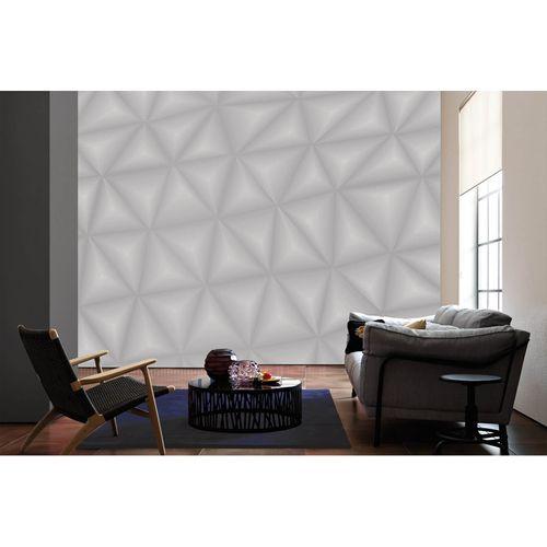 Photo Non-Woven Wallpaper 3D Triangle Graphic grey white