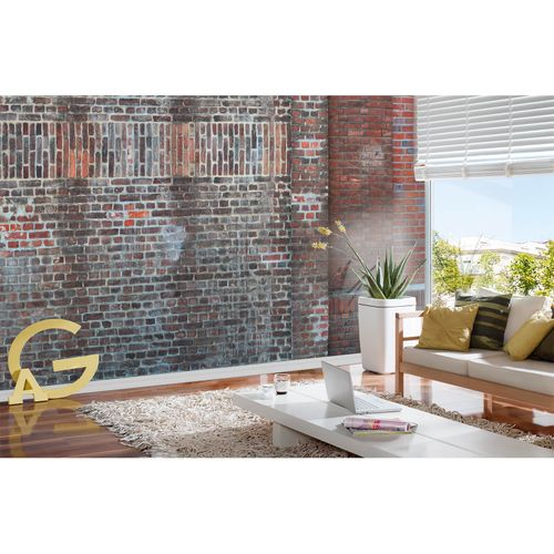 Photo Non-Woven Wallpaper Bricks Stone brown grey red