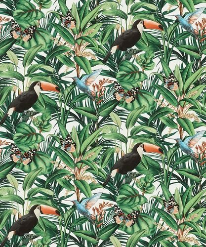 Non-woven wallpaper jungle floral white green black 10121-07