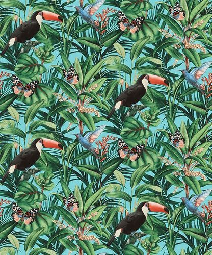 Non-woven wallpaper jungle floral blue green black 10121-18