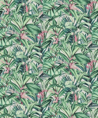 Non-woven wallpaper floral leaves white green red 10122-07