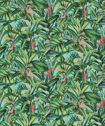 Non-woven wallpaper floral leaves blue green red 10122-18