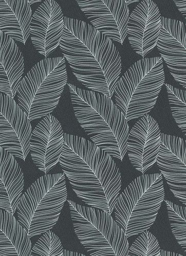 Non-woven wallpaper palm leaves anthracite white 10125-10