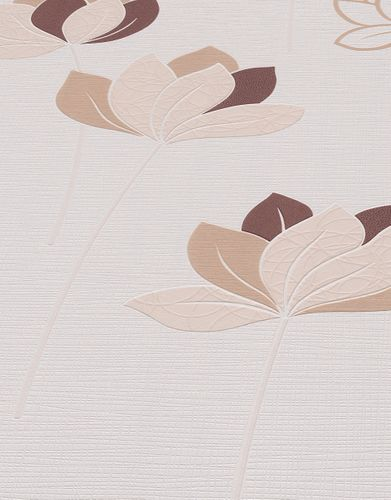 Non-woven wallpaper flower stems white brown 10117-02