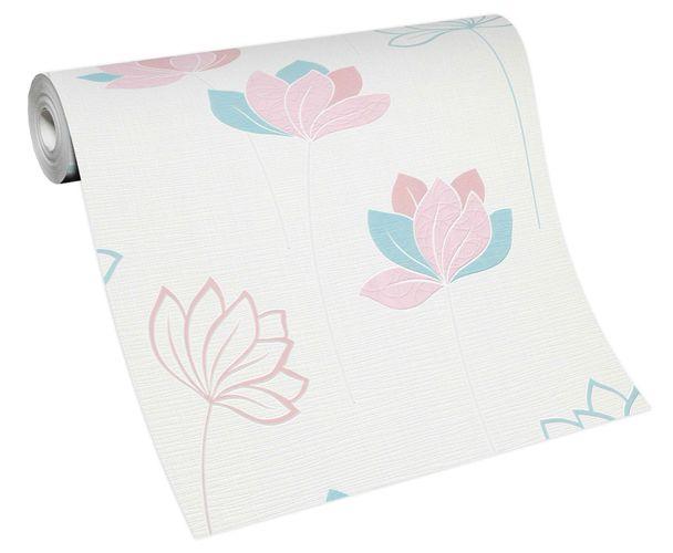 Non-woven wallpaper flower stems white rose 10117-05