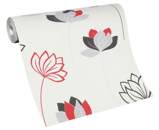 Non-woven wallpaper flower stems white grey red 10117-06