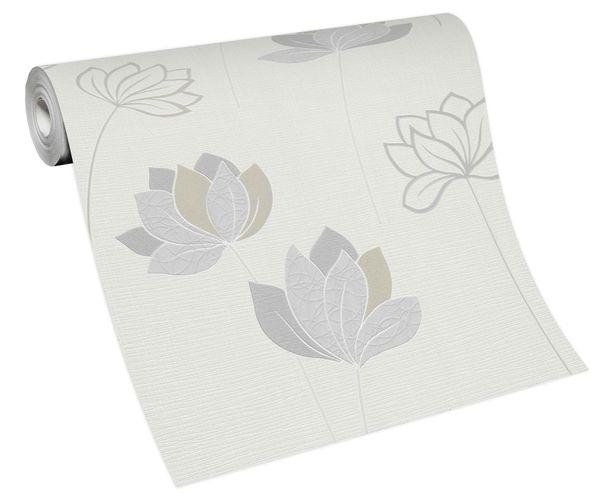 Non-woven wallpaper flower stems white grey 10117-14