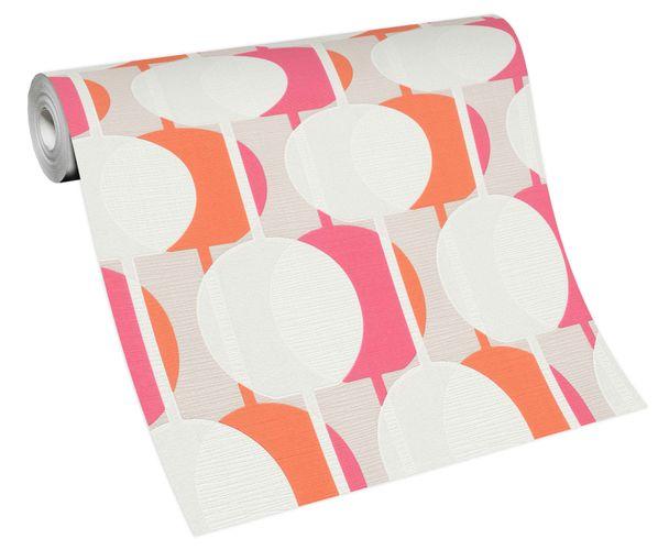 Non-woven wallpaper retro circles white orange 10118-04