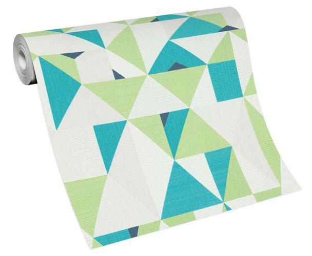 Non-woven wallpaper triangles white green 10119-07
