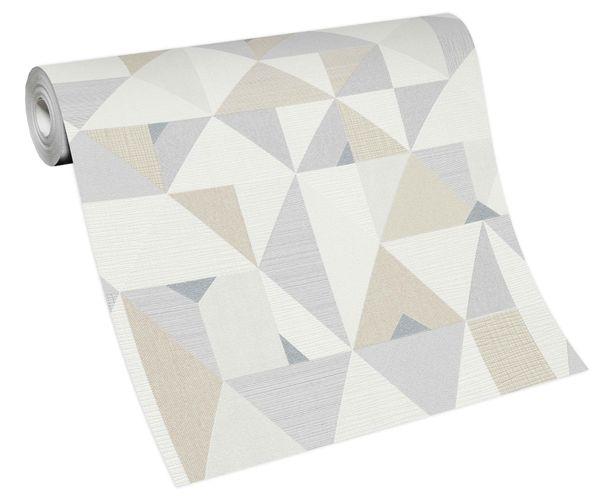 Non-woven wallpaper triangles white grey 10119-14