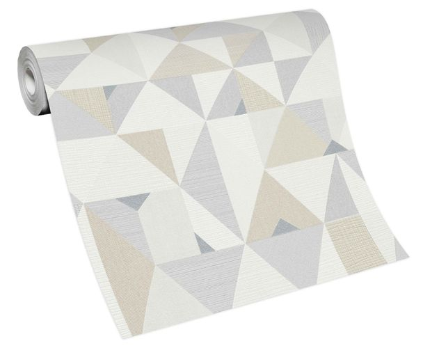Vliestapete Grafisch Dreiecke weiß grau beige Novara 10119-14