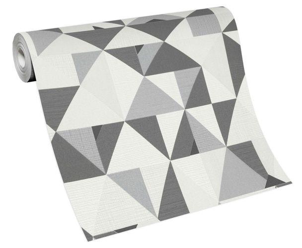 Non-woven wallpaper triangles white grey 10119-34