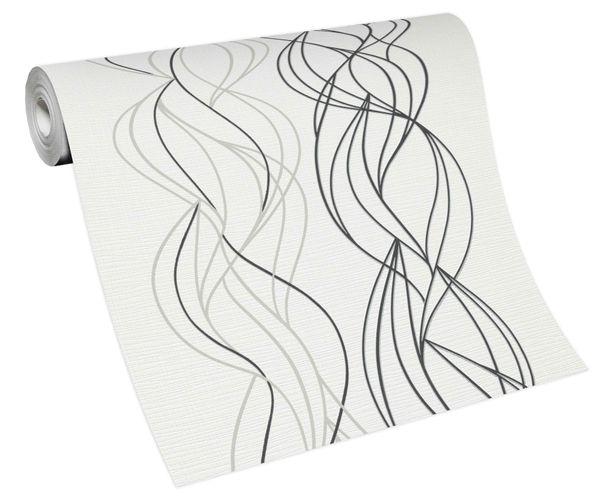 Non-woven wallpaper swirl weuß grey black 10120-34