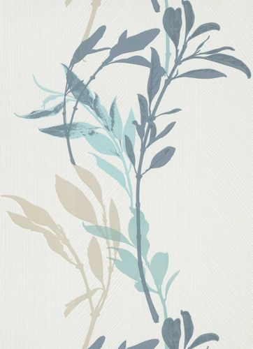 Non-woven wallpaper floral branch white beige blue 10138-08
