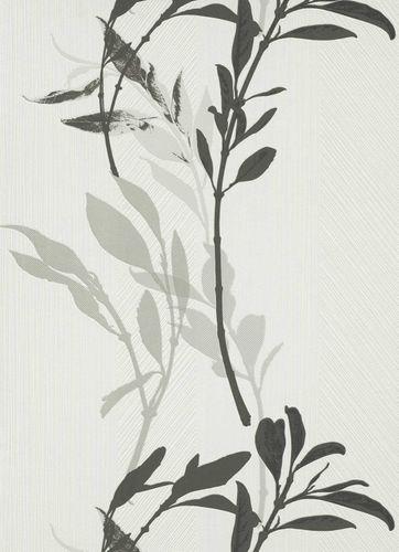 Vliestapete Florale Zweige weiß schwarz grau 10138-10