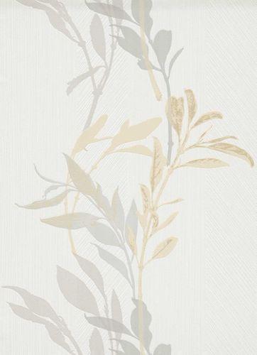 Non-woven wallpaper floral branch white grey 10138-31