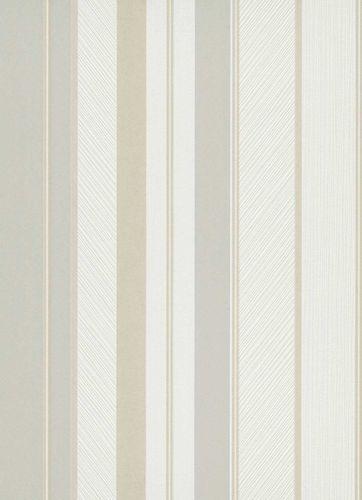 Non-woven wallpaper stripes white grey beige 10139-31