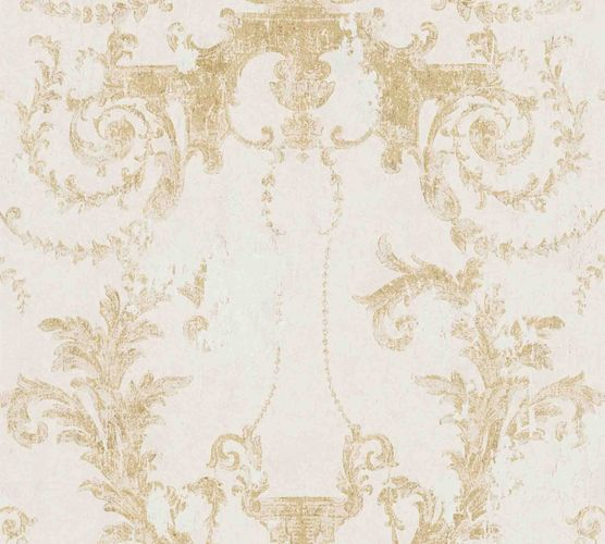Non-woven wallpaper baroque white gold 37648-2