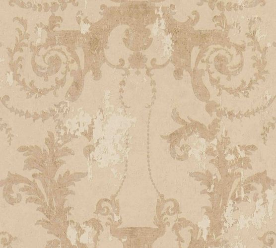 Non-woven wallpaper baroque beige gold 37648-3