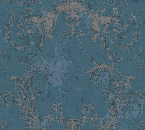 Non-woven wallpaper baroque blue silver 37648-5