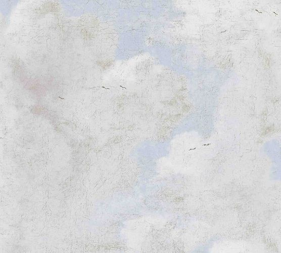 Non-woven wallpaper plastered wall blue grey white 37649-3