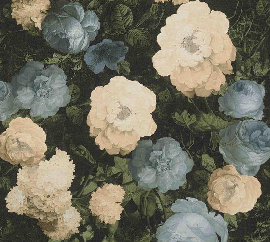 Vliestapete florale Blumen schwarz grün blau 37650-2