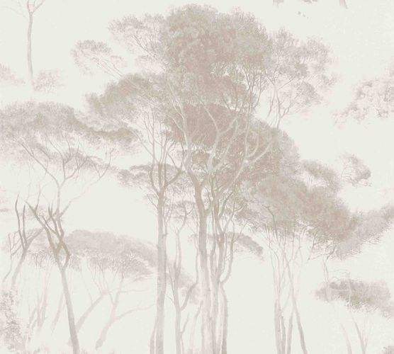 Non-woven wallpaper forest painting white greige 37651-4