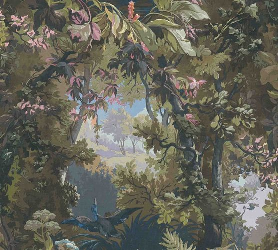 Non-woven wallpaper forest painting colourful 37652-2