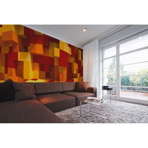 Fototapete Vlies Premium 3D Grafisch Steine gelb