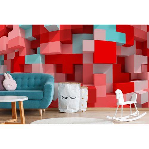Fototapete Vlies Premium 3D Grafisch Tetris Steine rosa