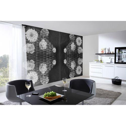 Fototapete Vlies Premium Blüten Floral Dreiecke schwarz