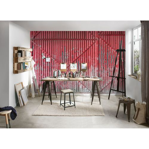 Photo Wallpaper Metal Gate red grey AS Creation DD108585