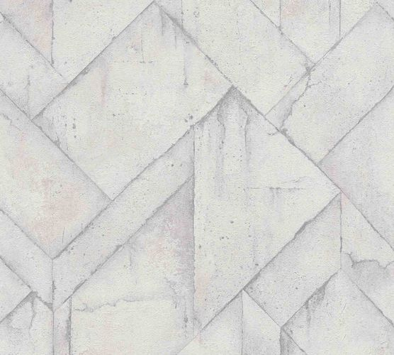 Wallpaper non-woven graphic concrete light grey 37741-5