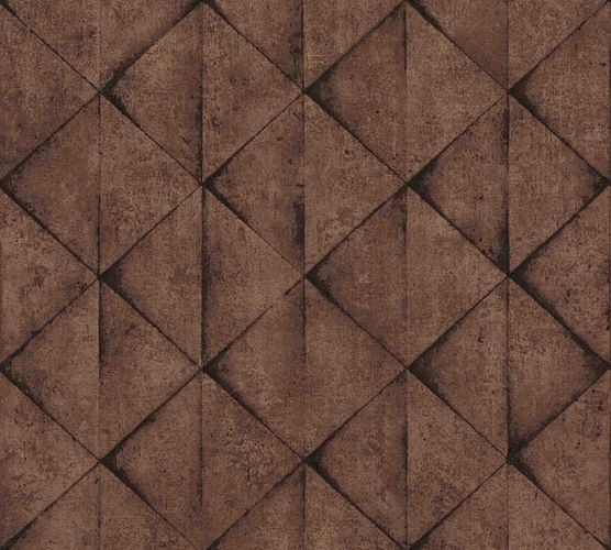 Wallpaper non-woven triangles graphic brown 37742-4