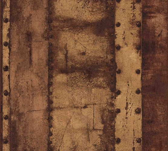Wallpaper non-woven iron optic brown 37743-3