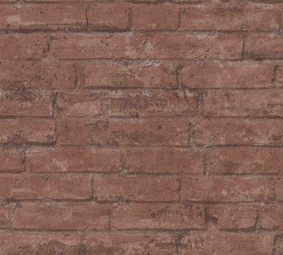 Wallpaper non-woven stone wall red-brown 37747-2