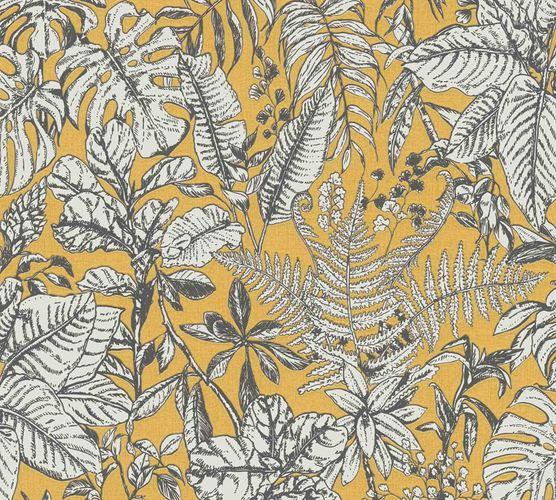 Non-woven wallpaper jungle yellow white grey 37520-3