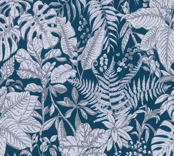 Non-woven wallpaper jungle blue white grey 37520-6