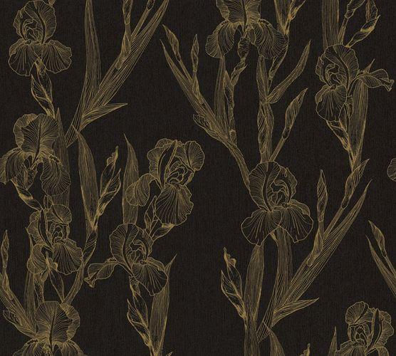 Non-woven wallpaper floral black yellow 37526-3