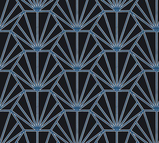 Non-woven wallpaper ornaments black blue white 37528-2