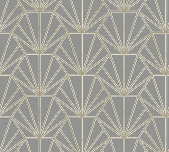Non-woven wallpaper ornaments grey gold white 37528-5